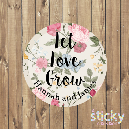 Personalised 'Let Love Grow' Stickers - Country Garden Design